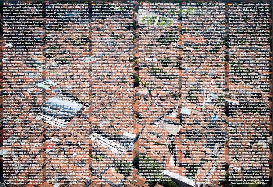 foto aerea di Padova e testo trilingue